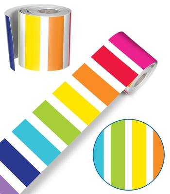 Twinkle Twinkle You're a Star! Vertical Rainbow Stripes Rolled Straight Borders